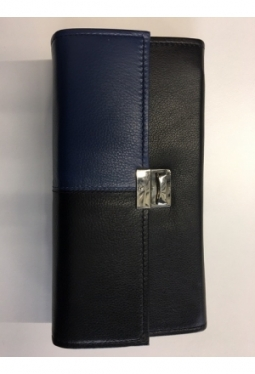 Service Portemonnaie Leder, Blau-Schwarz